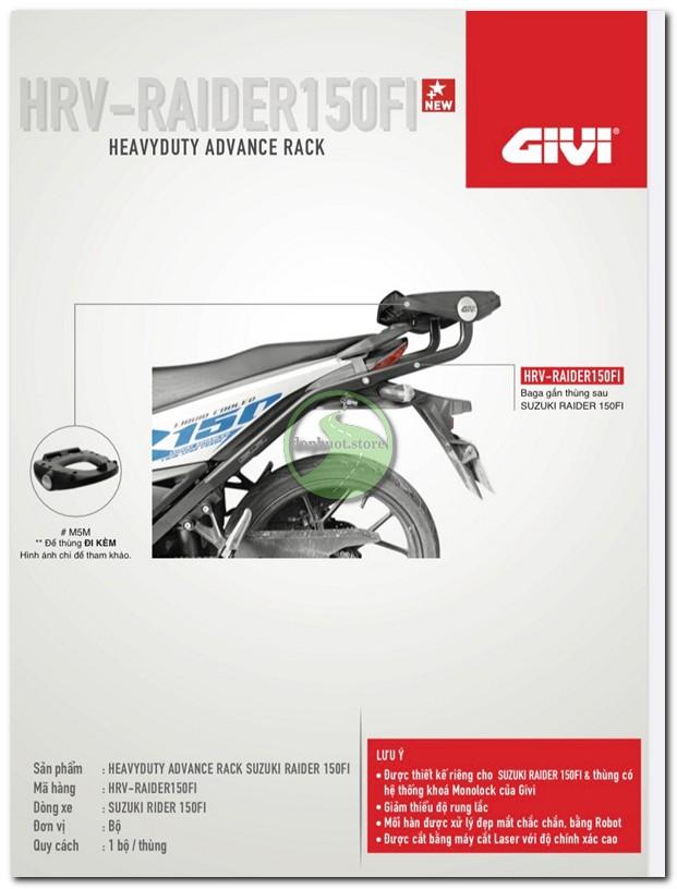 Baga givi HRV cho Raider FI R150